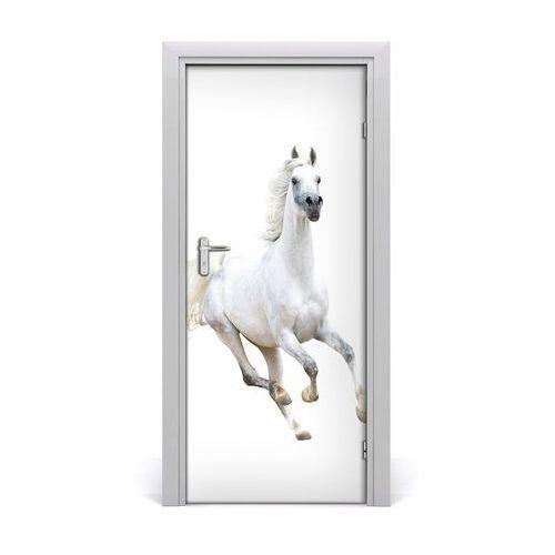 Naklejka samoprzylepna na drzwi biały koń w galopie marki Tulup.pl