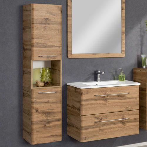 Szafka łazienkowa boczna beta o wysokości 150 cm z szufladą oraz drzwiami. marki Badmobil by fackelmann