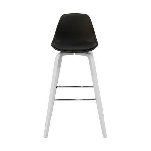 Krzesło barowe zaki,czarne/białe, tworzywo sztuczne, drewno bukowe, chrom, 22201-21 marki Interstil