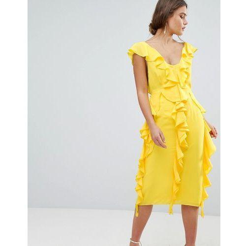 ASOS DESIGN sleeveless midi dress with soft ruffles - Yellow, kolor żółty
