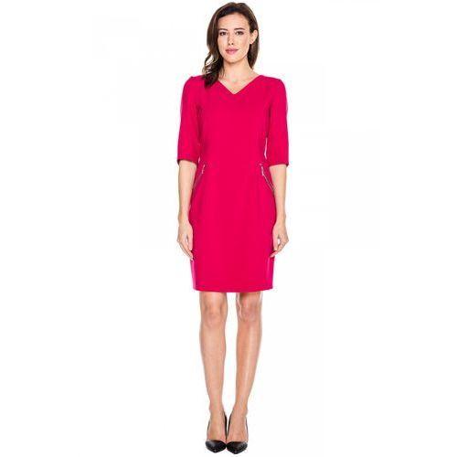Czerwona sukienka z metalowymi suwakami - Vito Vergelis, 1 rozmiar