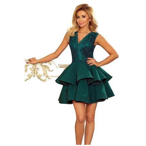 Zielona Rozkloszowana Imprezowa Sukienka z Koronką, rozkloszowana