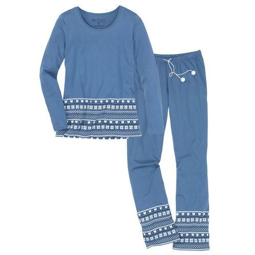 Piżama, bawełna organiczna bonprix niebieski dżins - biały z nadrukiem, kolor niebieski