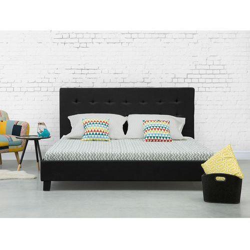 Beliani Łóżko czarne - 160x200 cm - łóżko tapicerowane - stelaż - la rochelle (7081459601294)