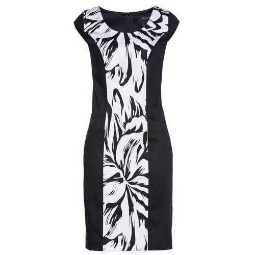77a7c0197a Sukienka ołówkowa bonprix czarno-biały z nadrukiem