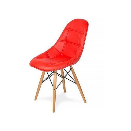 Krzesło EKO WOOD krwisty czerwony T2 - ekoskóra, podstawa bukowa, kolor czerwony