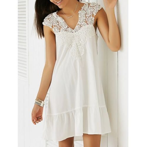 Casual sleeveless cut-out lace splicing flounce dress for women marki Rosewholesale
