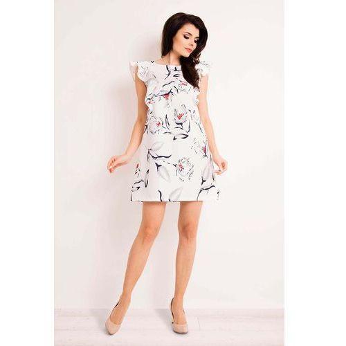 Ecru casualowa sukienka mini w kwiaty marki Infinite you