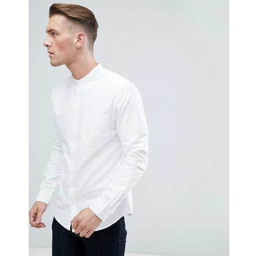 New Look Standard Fit Oxford Shirt With Grandad Collar In White - White