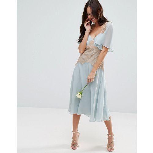 ASOS DESIGN Bridesmaid contrast lace panel midi dress - Blue, kolor niebieski