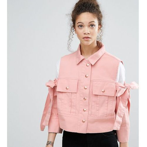 ASOS PETITE Jacket with Bow Cold Shoulder - Pink