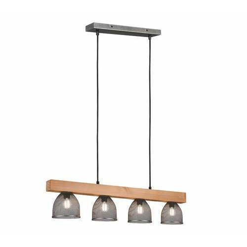Trio RL Cestino R30704067 lampa wisząca zwis 4x10W E14 niklowa/drewniana (4017807489378)