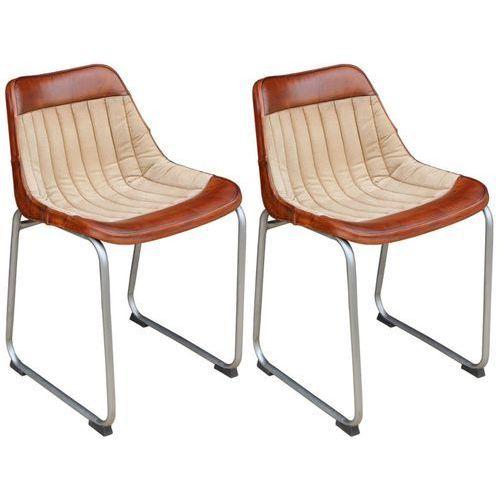 Vidaxl krzesła do jadalni 2 szt. prawdziwa skóra i płótno, brąz beż (8718475523697)