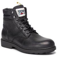 Kozaki TOMMY JEANS - Casual Leather Boot EM0EM00314 Black 990, kolor czarny