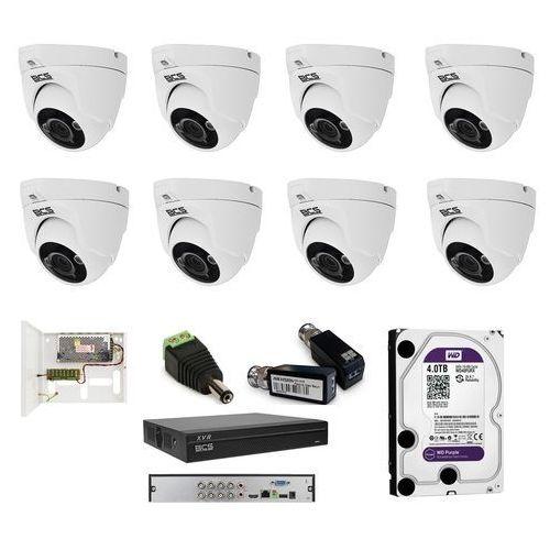 -dmqe1200ir3-b analogowy zestaw na 8 kamer kopułowych bcs 3,6mm, ir 30m, 2mpx. idealny do domu, małej kawiarni, lub sklepu. marki Bcs