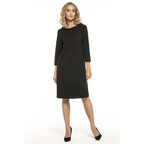 8bf64b2439 Trapezowa czarna sukienka z kołnierzykiem jackie kennedy