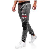 Spodnie męskie dresowe joggery grafitowe Denley 55066, dresowe