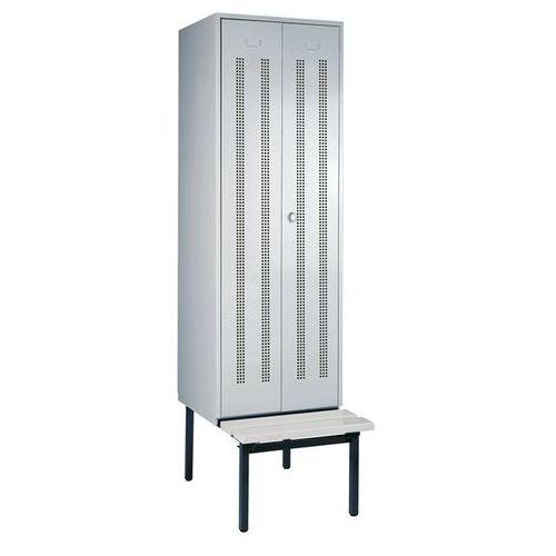 Szafka na ubrania z ławeczką u dołu, drzwi perforowane, szer. przedziału 600 mm,