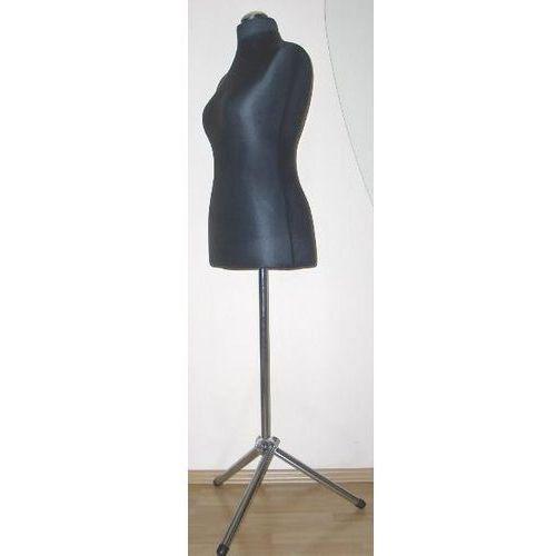 Manekin krawiecki - tors kobiecy krótki czarny - rozmiar 34 na metalowym trójnogu.