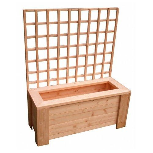 Prostokątna drewniana donica ogrodowa z pergolą - nina marki Elior
