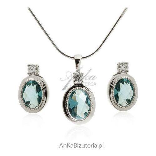 Komplet biżuteria srebrna z lazurowa cyrkonią elegancka biżuteria komplety marki Anka biżuteria