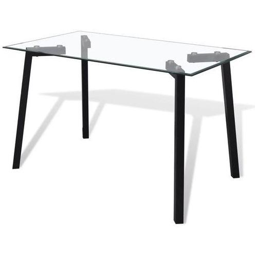 Stół ze szklanym blatem i czarnymi nogami