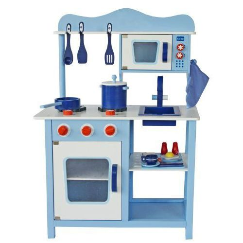 Wooden toys Drewniana kuchnia dla dzieci classic niebieska z wyposażeniem (5905669795036)