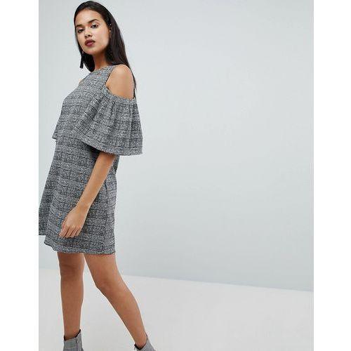 cold shoulder check dress - multi, River island