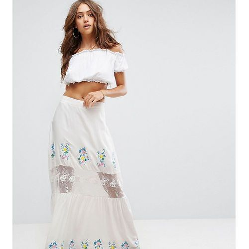 embroidered lace insert tiered maxi skirt - white, Boohoo