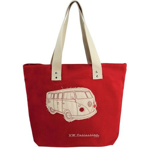 Vw collection by brisa Torba na zakupy zamykana na zamek vw t1 bus czerwona
