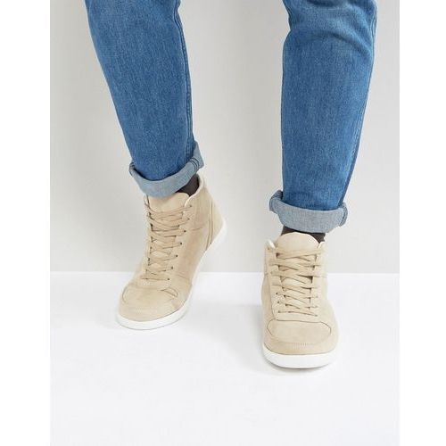 high top trainers in stone faux suede - stone, Asos
