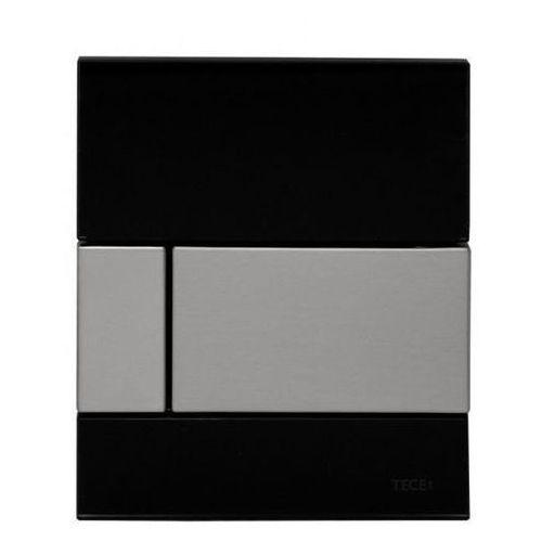 Tece przycisk spłukujący do pisuaru z wkładką zaworową, czarne szkło, przycisk ze stali szczotkowanej tecesquare 9242806