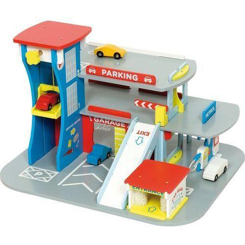drewniany garaż na autka marki Bigjigs toys