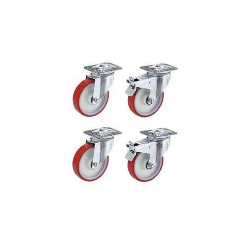Zestaw z opon poliuretanowych na feldze poliamidowej,2 x rolki skrętne i 2 x rolki skrętne z podwójną blokadą