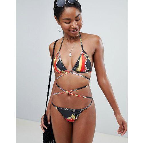 Prettylittlething printed wrap detail bikini top - black