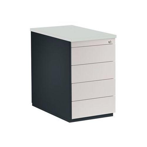 Kontener szufladowy, wys. x głęb. 720x800 mm, 4 szuflady, antracytowo-szary / ja