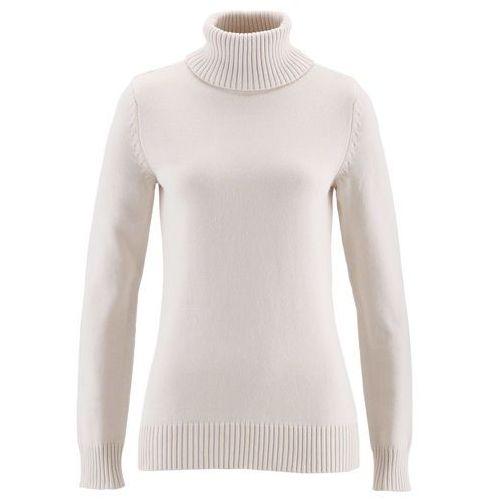 Sweter z golfem biel wełny, Bonprix, 36-50