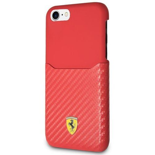 carbon hard case - etui iphone 8 / 7 z kieszenią na kartę (czerwony) marki Ferrari