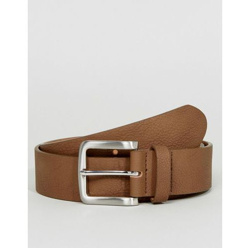 ASOS Faux Leather Wide Belt In Brown With Burnished Silver Buckle - Brown