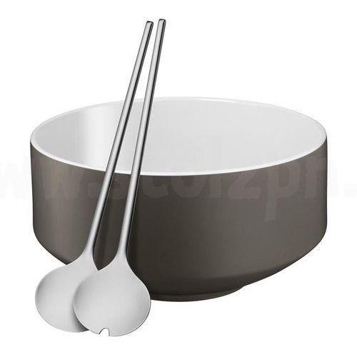 Zestaw do sałatek - miska + sztućce szary WMF