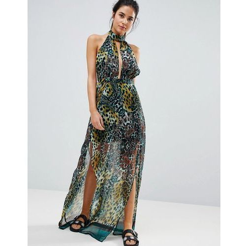 PrettyLittleThing High Neck Leopard Print Maxi Beach Dress - Green
