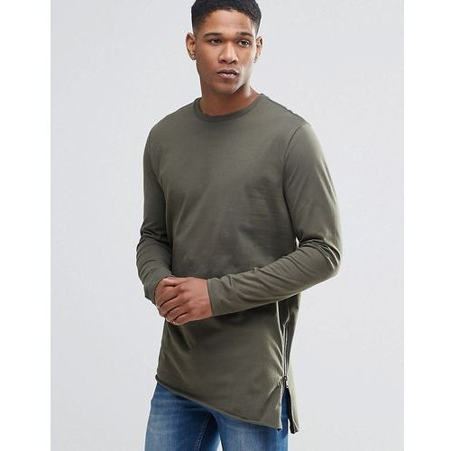 River Island Long-Sleeve Asymmetric T-Shirt With Side Zips In Khaki - Green