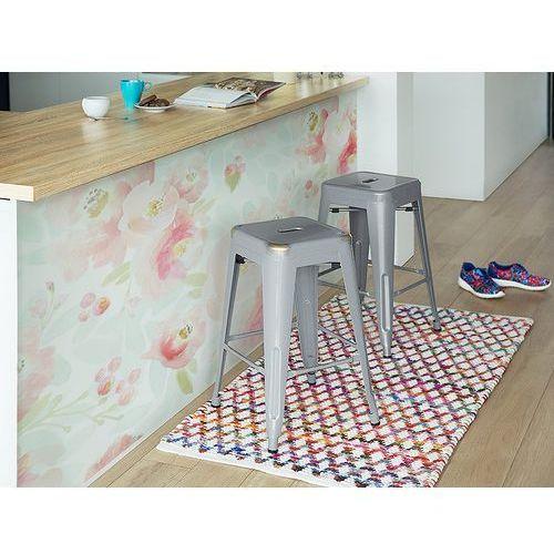 Beliani Hoker srebrny - taboret - do jadalni - stołek - 40x40x60 cm - cabrillo (7105271043442)