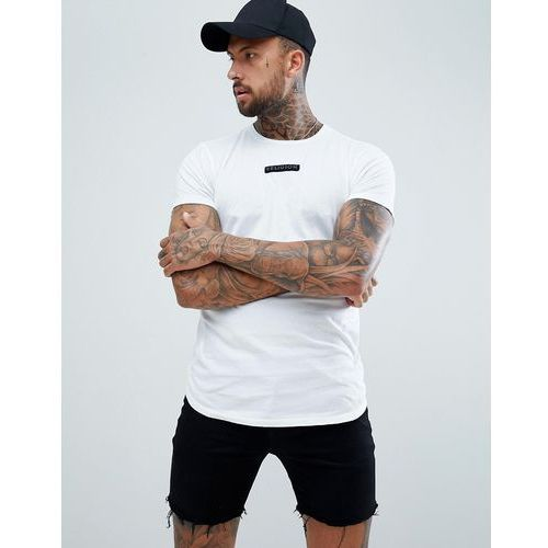 Religion Muscle Fit T-Shirt With Curved Hem In White - White