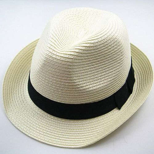 Chic Style Solid Color Embellished Peaked Fedora Straw Hat For Men and Women