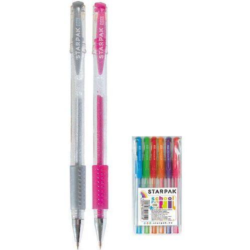 Długopis żelowy brokatowy 6 kolorów z gripem marki Mega creative