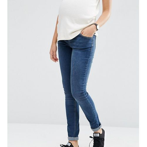 ASOS DESIGN Maternity Tall Ridley skinny jeansin mid wash with over the bump waistband - Blue, skinny