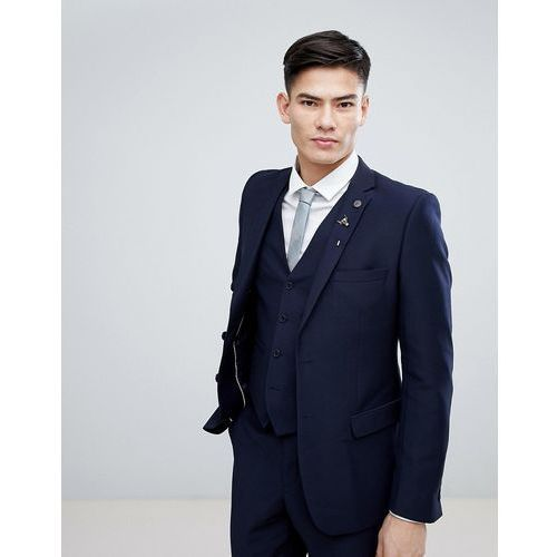 French Connection Birdseye Weave Slim Fit Suit Jacket - Navy