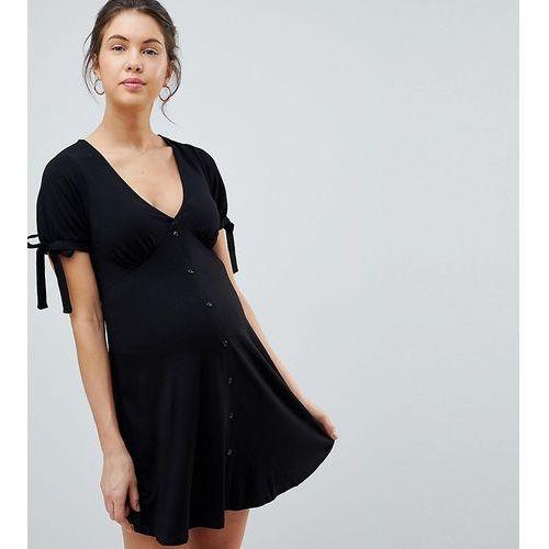 ASOS DESIGN Maternity mini button through tea dress with tie sleeve - Black