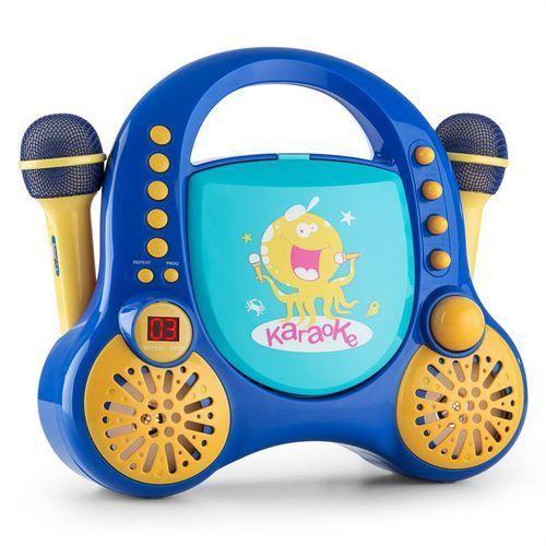rockpocket dziecięcy system karaoke cd aux 2 mikrofony, zestaw naklejek, niebieski marki Auna